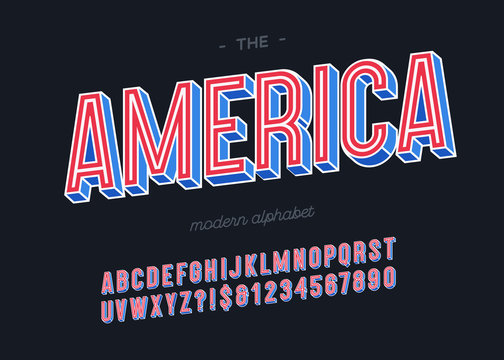 Vector america alphabet 3d colorful style for decoration, party poster, t shirt, logo, promotion, book, card, sale banner, printing on fabric. Cool font modern typography. Trendy typeface.10 eps