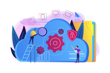 Two developers looking at the gears on the cloud. Digital data storage, database securiry, data protection, cloud technology concept, violet palette. Vector illustration isolated on white background.