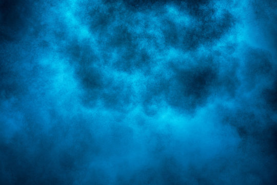 Explosion of blue powder.