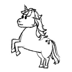 grunge cute unicorn with music sign tattoo