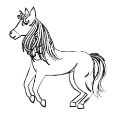 grunge beauty unicorn with horn and nice hair