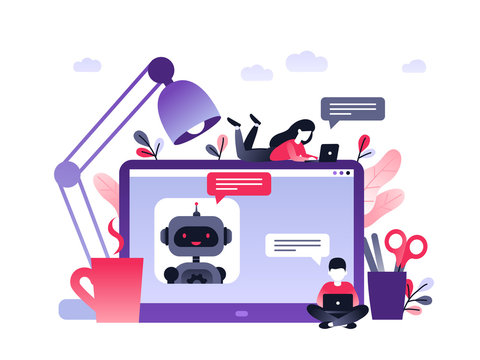 Chatbot business concept. Modern banner for the site. Chatbot, artificial intelligence, customer support. Dialog box of computer on desk and small people. Ultra violet flat vector illustration.