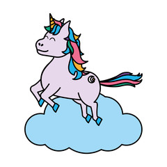 color happy unicorn with hairstyle jumping in the cloud