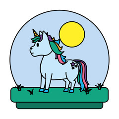 color unicorn with hairstyle and stars tattoo in the landscape