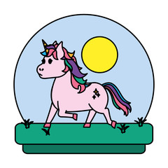 color unicorn with hairstyle and stars style in tha landscape