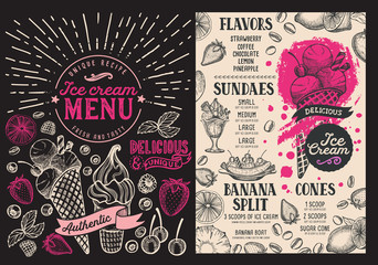 Ice cream restaurant menu. Vector dessert food flyer for bar and cafe. Design template with vintage hand-drawn illustrations on chalkboard background.