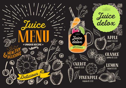 Juice smoothie menu for restaurant and cafe. Vector drink flyer. Design template with vintage fruit hand-drawn illustrations.