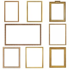 Set of golden frames for paintings, mirrors or photos