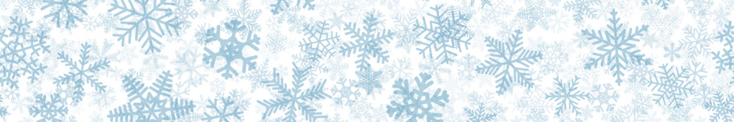 Christmas horizontal seamless banner of many layers of snowflakes of different shapes, sizes and transparency. Light blue on white