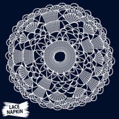 Lace napkin. Crochet round ornament. Knitting illustration. Granny hand made lacework. Macrame retro. Boho style fashion. Realistic vector for fashion or interior fabric design.