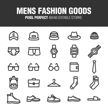 It's a set of icons about the men's fashion items. Editable stroke. 48x48 Pixel Perfect.