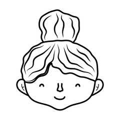 line cute woman head with hairstyle design