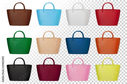 efe543070d Different colors elegant handbags for every season. Isolated on white  illustration for beauty or fashion design.