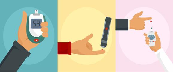 Glucose meter care check sugar blood test banner concept set. Flat illustration of 3 glucose meter care check sugar blood test vector banner concepts for web