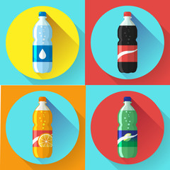 set of pictures plastic bottle of coca cola, sprite, fantasy orange soda. Flat vector illustration.