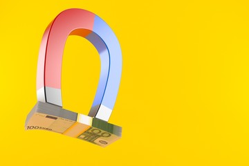 Horseshoe magnet with euro currency