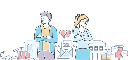 Divorce - colorful line design style illustration