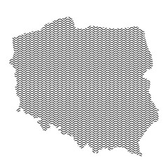 Poland map country abstract silhouette of wavy black repeating lines. Contour of sinusoid curve. Vector illustration.
