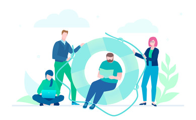 Business cooperation - flat design style illustration