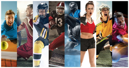 Sport collage about soccer, american football, basketball, tennis, boxing, ice and field hockey,...