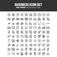 A set of 100 business-related icons. Editable stroke. 48x48 Pixel Perfect.