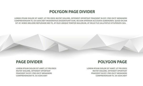 White polygonal seamless divider for website and landing page template.