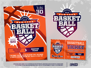 modern professional sports design poster and ticket and emblem for basketball tournament