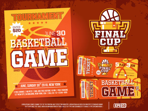 modern professional sports design poster and ticket and cup for basketball tournament