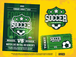 modern professional sports design poster and ticket and emblem for soccer tournament