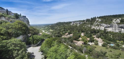 Les Baux-de-Provence, view from the castle ruins on the Alpilles. Bouches du Rhone, Provence, France, Europe.