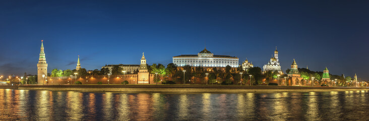 Moscow night panorama city skyline at Kremlin Palace Red Square and Moscow River, Moscow, Russia