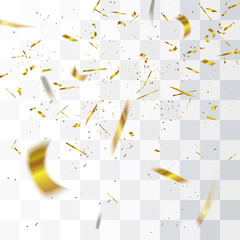 Abstract defocused golden confetti isolated on transparent background.Vector illustration.