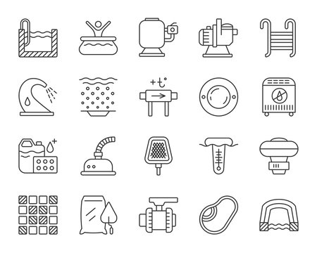 Pool Equipment simple black line icons vector set