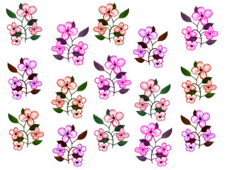 Watercolor pink flowers arranged in a beautiful floral pattern