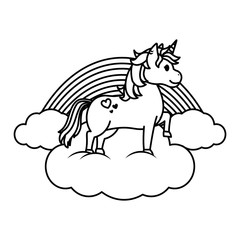 line beauty unicorn standing in the clouds with rainbow