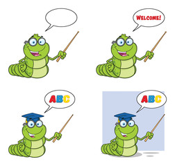 Book Worm Mascot Cartoon Character Set 3. Vector Collection Isolated On White Background