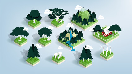 Graphic design vector of green ecology elements, renewable energy and background, environment friendly concept in isometric style, illustration vector of forest, water and city