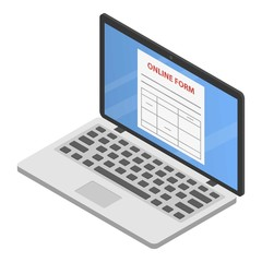 Online form icon. Isometric of online form vector icon for web design isolated on white background