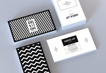 Horizontal and Vertical Business Cards Mockup on Gray Background