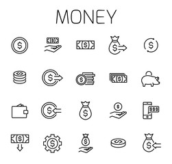 Money related vector icon set
