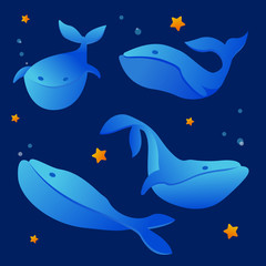 Vector Illustration. Set of blue whale.Sea animal