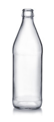 Front view of empty glass beer bottle