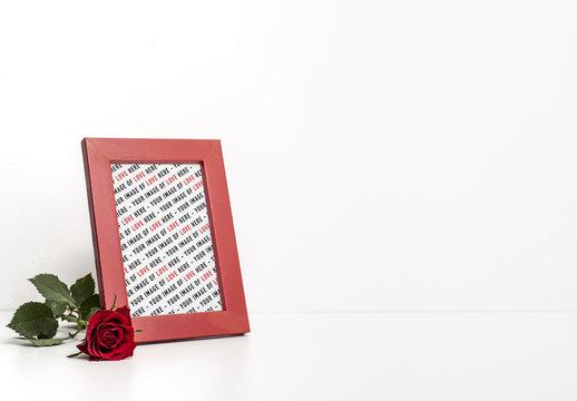 Red Vertical Picture Frame Mockup