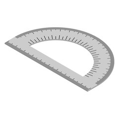 Vector isometric protractor for measuring, schools and architecture