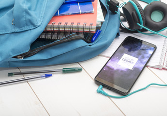Smartphone in a Backpack Mockup. School setting application design.