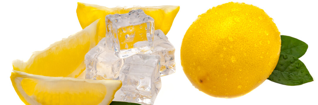 slices of lemon, green leaves, cubes of cold ice, and a whole fresh yellow lemon in isolation.