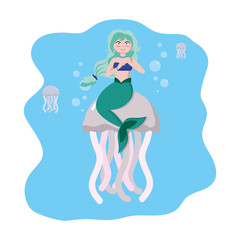 siren woman with jellyfishes animal in the sea