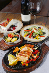 Grilled white fish lunch with vegetables