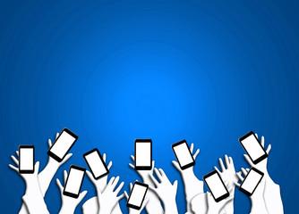 Smartphone, teléfonos, manos, brazos, fondo azul iluminado para escribir texto.