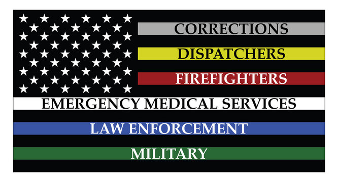 United states of America flag with colored lines represent corrections, dispatchers, firefigters, emergency medical services, law enforcement and military